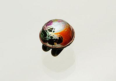 オレンジパンジー 帯留め 丸い飾り アンティーク風