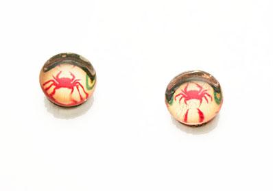 蟹柄のしずくのシンプルピアス