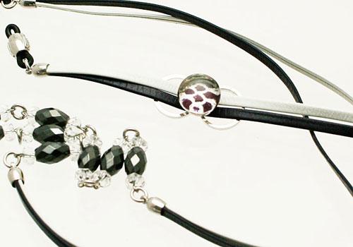 メガネストラップ 磁気入り へマタイト ツートンカラー 革 水晶