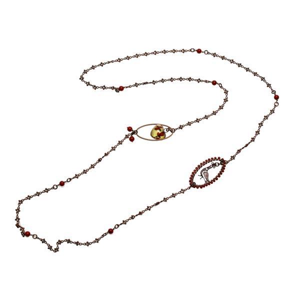ネックレス 珊瑚(染め) 赤 鳥 アンティーク調 七宝 ロング ハート