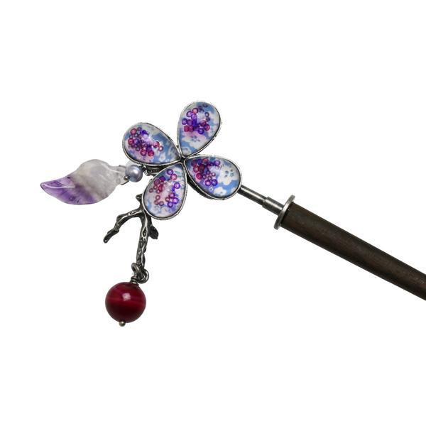 かんざし 花 紫 着物 古希 飾り取り外し可 アゲート 淡水パール アメジスト