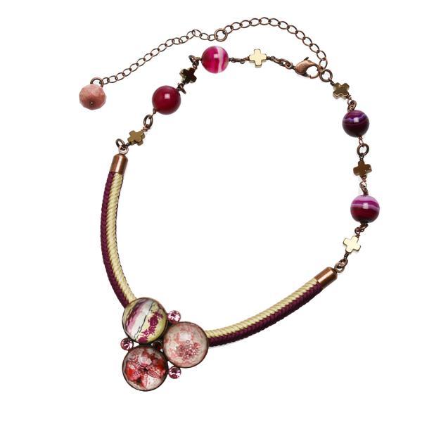 ネックレス シルク紐 アゲート(染め) ピンク ヘマタイト