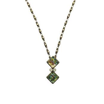ネックレス ターコイズ 緑 シンプル アンティーク風 樹脂
