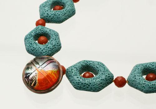 オレンジとブルーの天然石チョーカー