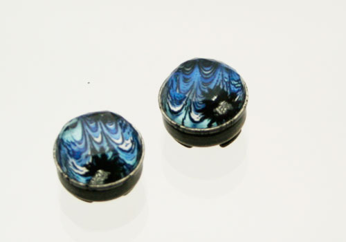 青いマーブル柄のボタンカバー2個セット