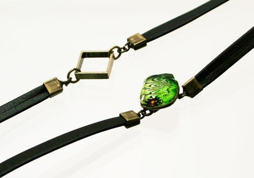 グリーンのマーブル飾りの紳士用眼鏡ストラップ