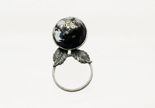 青い丸のメガネホルダーピンブローチ[glasses holder pin brooch]