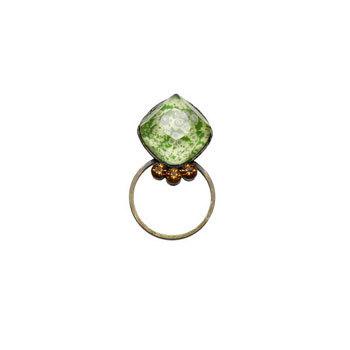 グリーンの四角い梅柄メガネホルダーピンブローチ ツル幅1.6cmまで対応