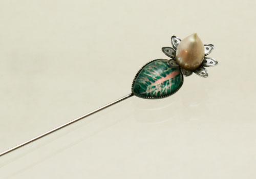 しずくと真珠のハットピン/ラペルピン【淡水パール】