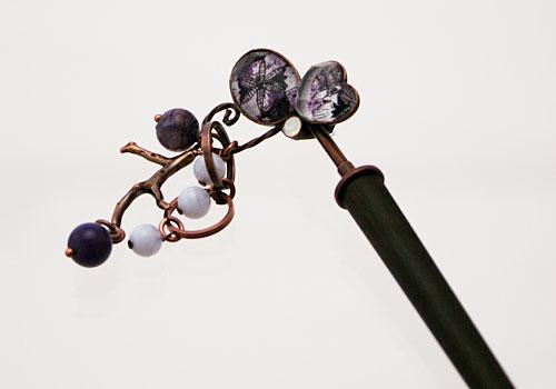 紫の片羽蝶の着せ替え木製かんざし