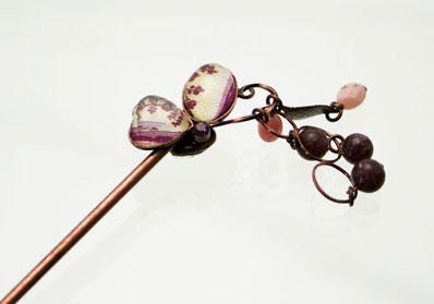バラ柄の片羽蝶のかんざし ピンクコモンオパール、レピドライト ニッケルフリー