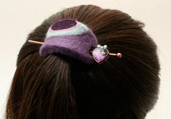 紫のマーブル柄ハートの飾りかんざしバレッタ