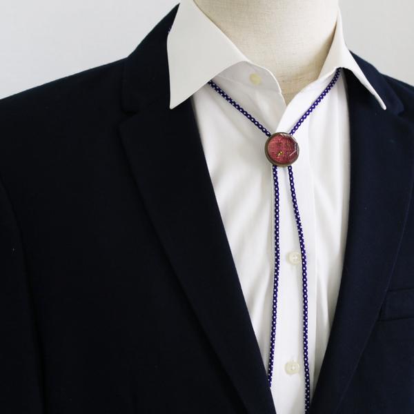 組紐ループタイ ボタン シルク 臙脂色 京都職人 オリジナル樹脂