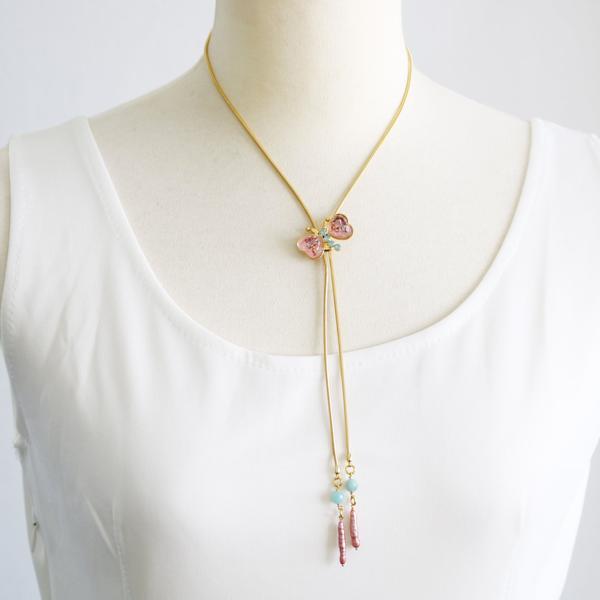 ネックレス 蝶 ピンク 淡水パール アマゾナイト ニッケルフリー